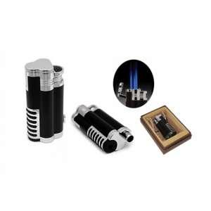 CICLÓN Antorcha de llama triple con cortador de balas retráctil en caja de regalo (negro)