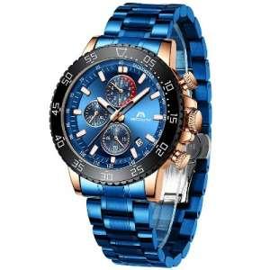 MEGALITH - Reloj para hombre a prueba de agua cronógrafo con acero inoxidable, resistente al agua, analógico, cuarzo
