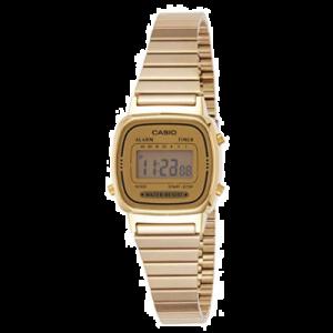 Casio LA670WGA-9 Reloj para mujer a prueba de agua, reloj de cuarzo, de acero inoxidable, con cuadrante digital, dorado
