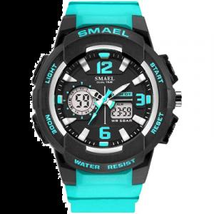 SMAEL Reloj para mujer a prueba de agua de pulsera deportivo con mecanismo de cuarzo movimiento doble y pantalla analógica digital.