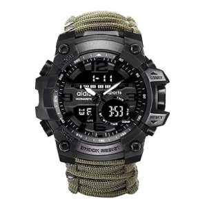 Ueasy Reloj deportivo 6-en-1 para hombre a prueba de agua superior de Doble Pantalla Analógica Digital LED Electrónica, Reloj de Cuarzo Impermeable para Natación, estilo Militar.