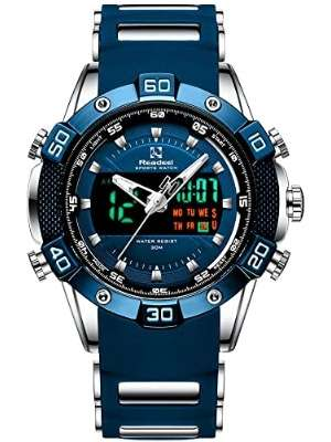 Youwen Reloj deportivo para hombre a prueba de agua LED digital y cuarzo analógico doble movimiento reloj de hombre cronógrafo reloj militar impermeable