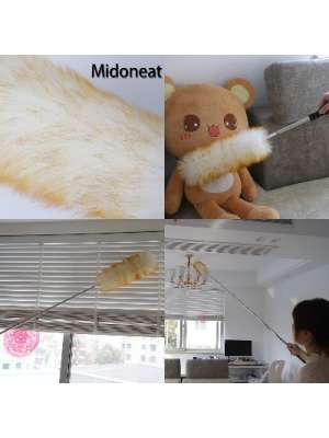 Extension duster Midoneat Lambswool with Extra Flexible Microfiber Head,Long Reach/Extendable Duster Up to 86