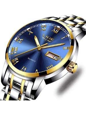 LIGE Relojes para hombre de acero inoxidable completo azul a prueba de agua 30M, reloj de cuarzo luminoso analógico moda casual vestido de negocios, reloj de pulsera de plata.