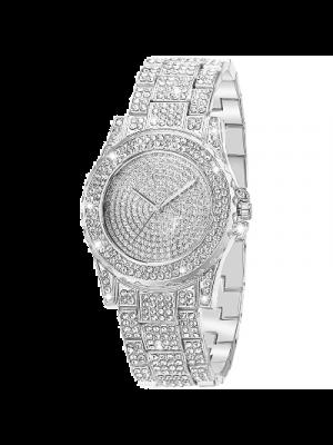 ManChDa Reloj para mujer a prueba de agua, reloj de lujo con movimiento de cuarzo, cristal y diamantes de imitación, acero inoxidable