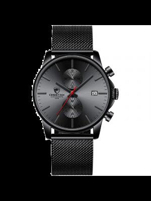 Golden Hour Reloj para hombre de moda elegante minimalista de cuarzo de malla analogica de acero inoxidable impermeable cronógrafo relojes para hombres con fecha automatica