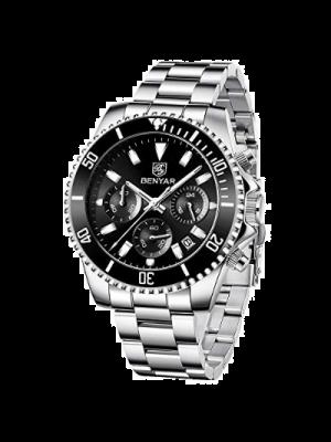 BENYAR Reloj para hombre a prueba de agua, cronógrafo, reloj multifunción negro, deportivo, a la moda, de cuarzo, reloj con correa de acero inoxidable