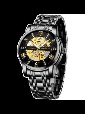 BEN NEVIS Reloj mecánico para hombre aprueba de agua, de acero inoxidable, reloj pulsera esqueleto sumergible de cuerda automática números romanos esfera con diamantes