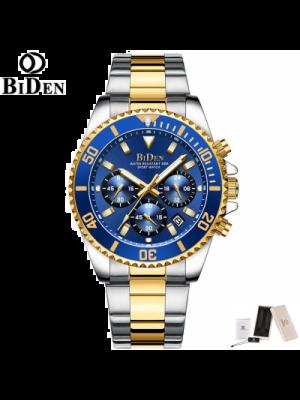 BIDEN Relojes para hombre aprueba de agua, cronógrafo, acero inoxidable, fecha analógica, de cuarzo, moderno, de negocios, relojes de pulsera