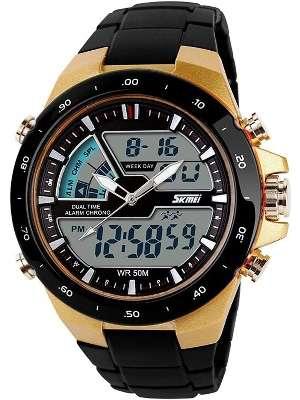 SKMEI Reloj para hombre a prueba de agua, deportivo, digital  con esfera grande, luz trasera LED. Reloj militar simple con alarma, casual, luminoso, color dorado.